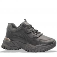 Γυναίκεια chunky sneakers με μεταλλική λεπτομέρεια στη σολα σε μαυρο