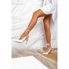 Γόβες λευκές δετές Open Heel